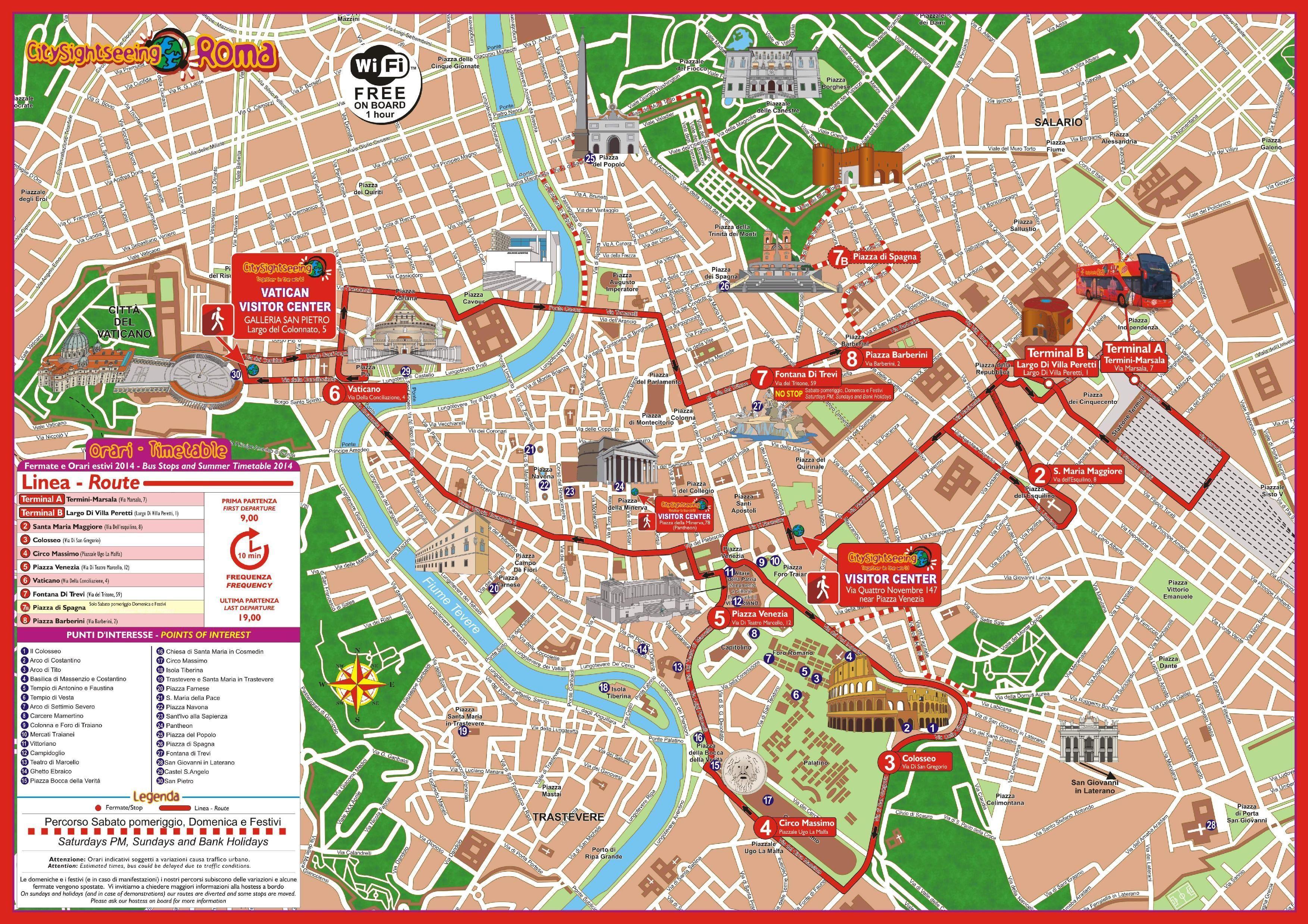 Mapa De Roma Turistico.Roma Autobus De Turismo Mapa De La Ciudad De Roma En Autobus