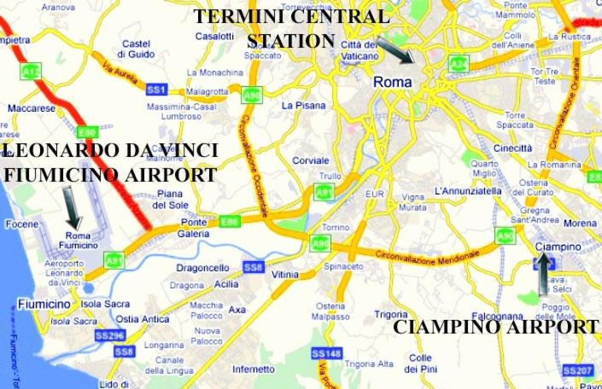 Aeropuertos De Italia Mapa.Los Aeropuertos De Roma Mapa De Ubicacion Mapa De Roma