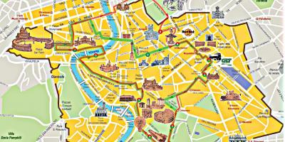 Roma hop on hop off bus tour mapa de la ruta